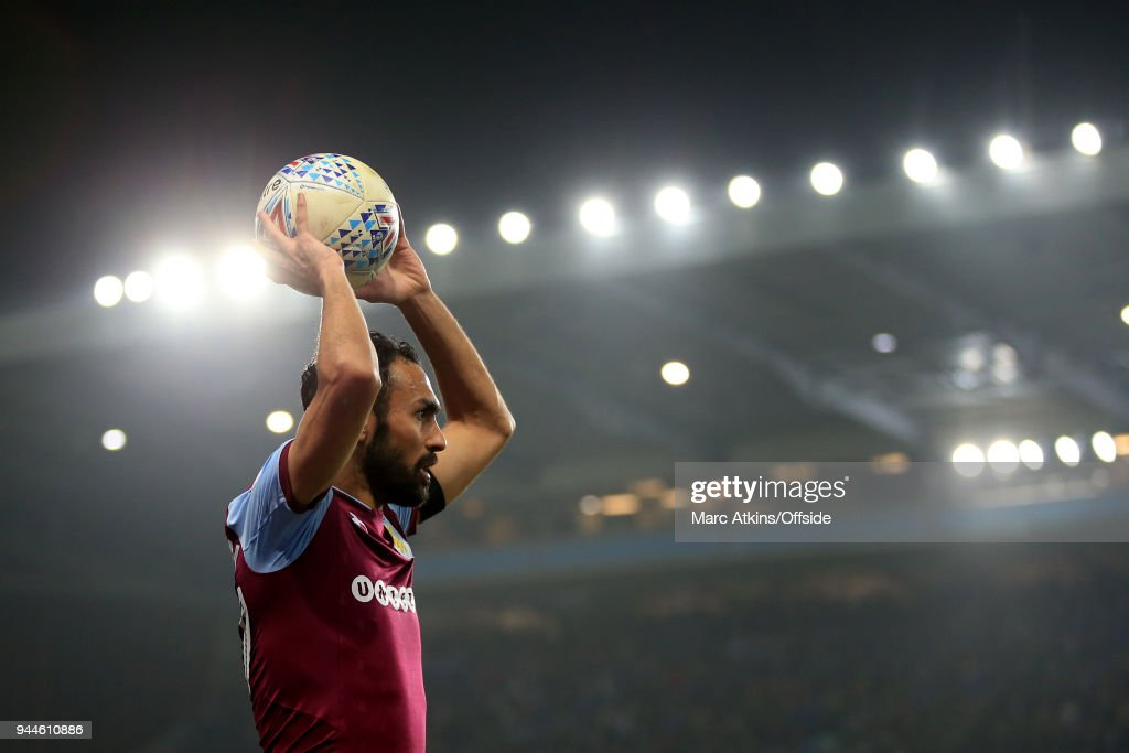 Ahmed Elmohamady of Aston Villa takes a throw in during the Sky Bet Championship match between Aston Villa and Cardiff City at Villa Park on April 10, 2018 in Birmingham, England.