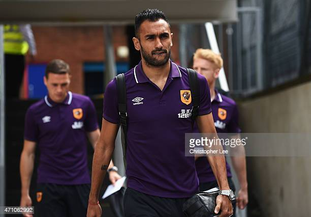 Ahmed Elmohamady of Hull arrives ahead of the Barclays Premier League match between Crystal Palace and Hull City at Selhurst Park on April 25 2015 in...