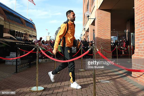 Ahmed Elmohamady of Hull City arrives ahead of the Barclays Premier League match between Sunderland and Hull City at the Stadium of Light on November...