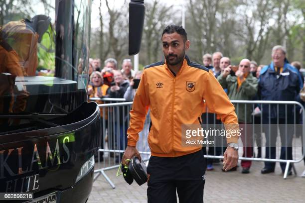 Ahmed Elmohamady of Hull City arrives at the stadium prior to the Premier League match between Hull City and West Ham United at KCOM Stadium on April...
