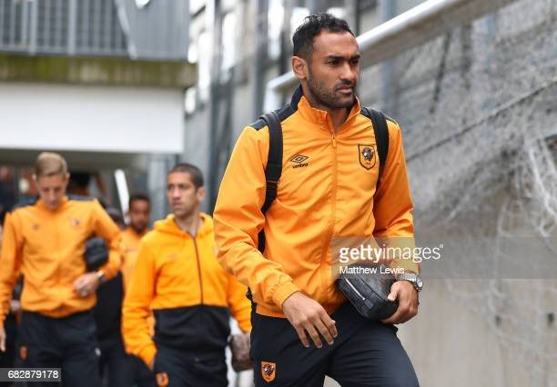Ahmed Elmohamady of Hull City arrives at the stadium prior to the Premier League match between Crystal Palace and Hull City at Selhurst Park on May...