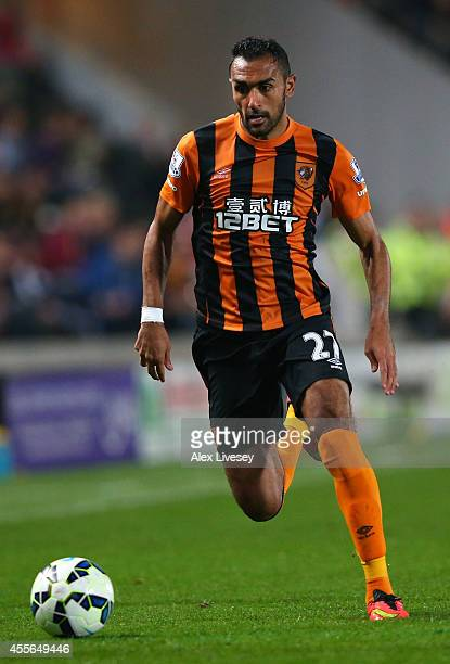 Ahmed Elmohamady of Hull City controls the ball during Barclays Premier League match between Hull City and West Ham United at KC Stadium on September...