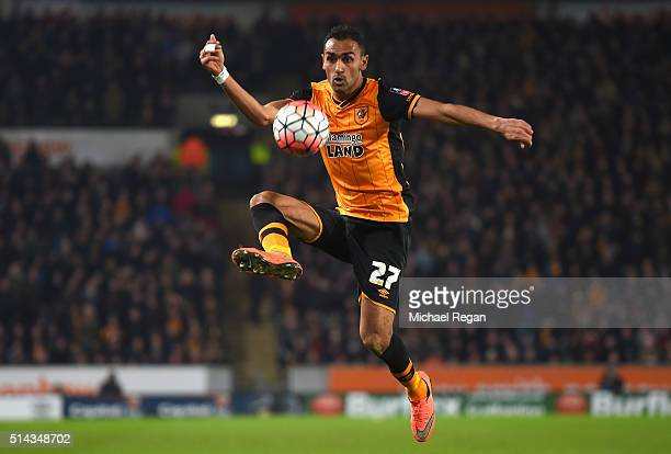 Ahmed Elmohamady of Hull City controls the ball during the Emirates FA Cup Fifth Round Replay match between Hull City and Arsenal at KC Stadium on...