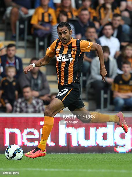 Ahmed Elmohamady of Hull City controls the ball during the UEFA Europa League third qualifying round second leg match between Hull City and AS...