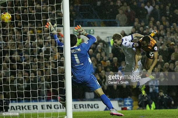 Ahmed Elmohamady of Hull City FC heads a goal during the Sky Bet Championship League match between Leeds United FC and Hull City FC on December 5...