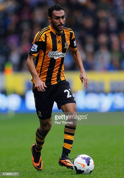 Ahmed Elmohamady of Hull City in action during the Barclays Premier League match between Hull City and Manchester City at the KC Stadium on March 15...