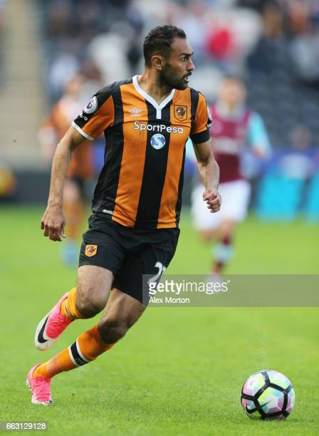 Ahmed Elmohamady of Hull City in action during the Premier League match between Hull City and West Ham United at KCOM Stadium on April 1 2017 in Hull...