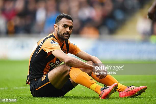Ahmed Elmohamady of Hull City looks despondent during the Barclays Premier League match between Hull City and Burnley at KC Stadium on May 9 2015 in...