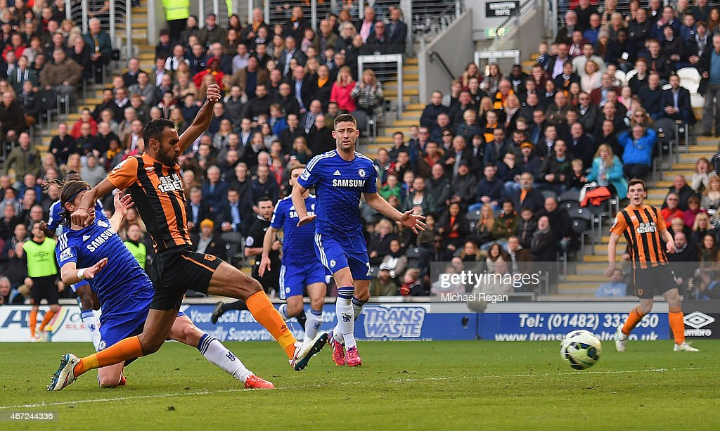 Ahmed Elmohamady of Hull City (2L) scores their first goal during the Barclays Premier League match between Hull City and Chelsea at KC Stadium on March 22, 2015 in Hull, England.