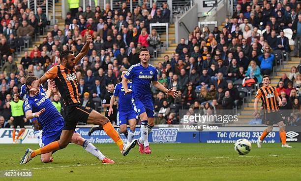Ahmed Elmohamady of Hull City scores their first goal during the Barclays Premier League match between Hull City and Chelsea at KC Stadium on March...