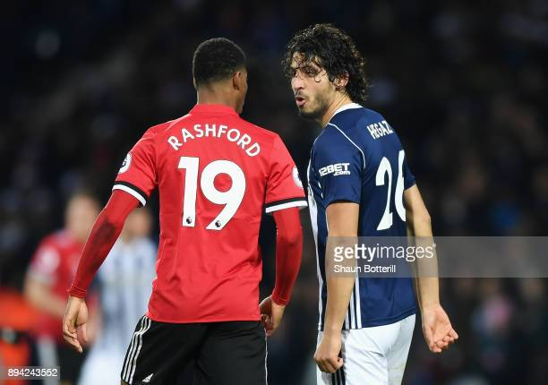 Ahmed ElSayed Hegazi of West Bromwich Albion argues with Marcus Rashford of Manchester United during the Premier League match between West Bromwich...