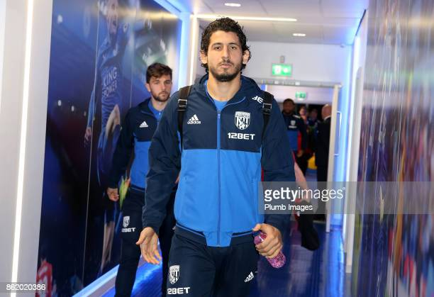 Ahmed ElSayed Hegazi of West Bromwich Albion arrives at King Power Stadium ahead of the Premier League match between Leicester City and West Bromwich...