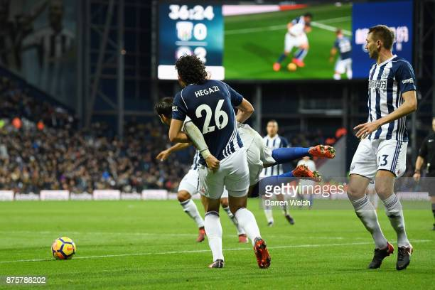 Ahmed ElSayed Hegazi of West Bromwich Albion fouls Alvaro Morata of Chelsea during the Premier League match between West Bromwich Albion and Chelsea...