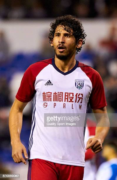 Ahmed ElSayed Hegazi of West Bromwich Albion reacts during the Pre Season Friendly match between Deportivo de La Coruna and West Bromwich Albion at...
