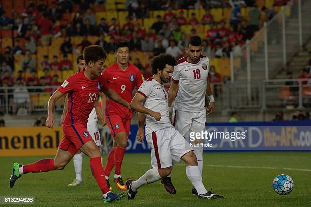 Ahmed Elsayed of Qatar action during an 2018 Russia World Cup Asian Qualifiers South Korea vs Qatar match at World Cup stadium in Suwon South Korea...