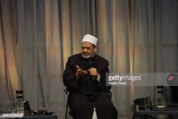Ahmed elTayeb talks at the Kirchentag The Grand Imam of alAzhar Ahmed elTayeb and Thomas de Maiziere the German Federal Minister of the Interior...
