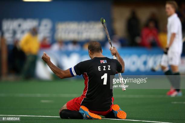 Ahmed Ezz of Egypt celebrates victory at the final whistle during day 4 of the FIH Hockey World League Men's Semi Finals Pool B match between Egypt...