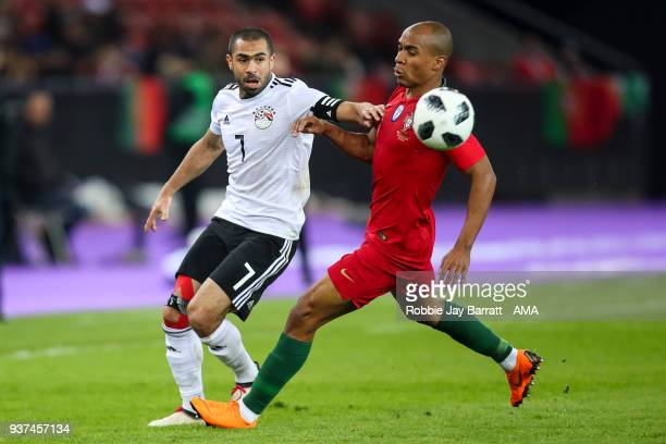 Ahmed Fathi of Egypt and Joao Mario of Portugal during the International Friendly match between Portugal and Egypt at Stadion Letzigrund on March 23...
