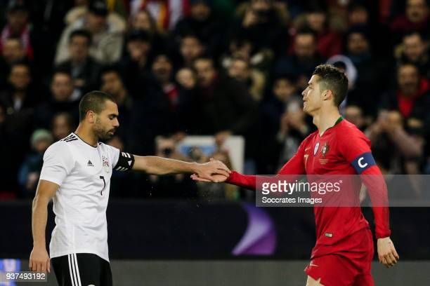 Ahmed Fathi of Egypt Cristiano Ronaldo of Portugal during the International Friendly match between Egypt v Portugal at the Letzigrund Stadium on...