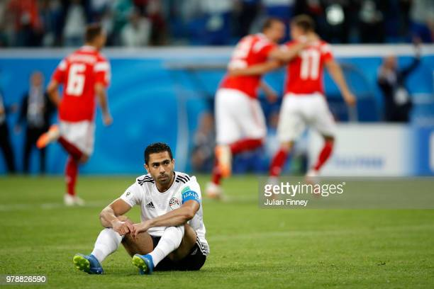 Ahmed Fathi of Egypt looks dejected after scoring an own goal during the 2018 FIFA World Cup Russia group A match between Russia and Egypt at Saint...