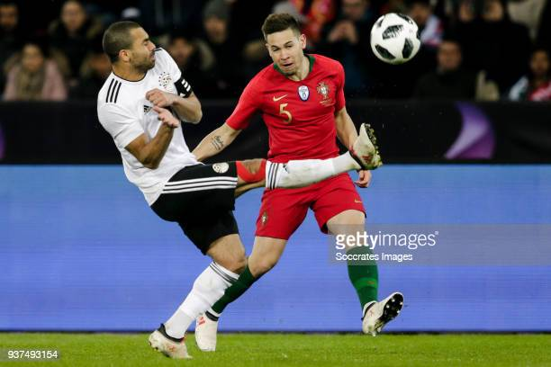 Ahmed Fathi of Egypt Raphael Guerreiro of Portugal during the International Friendly match between Egypt v Portugal at the Letzigrund Stadium on...