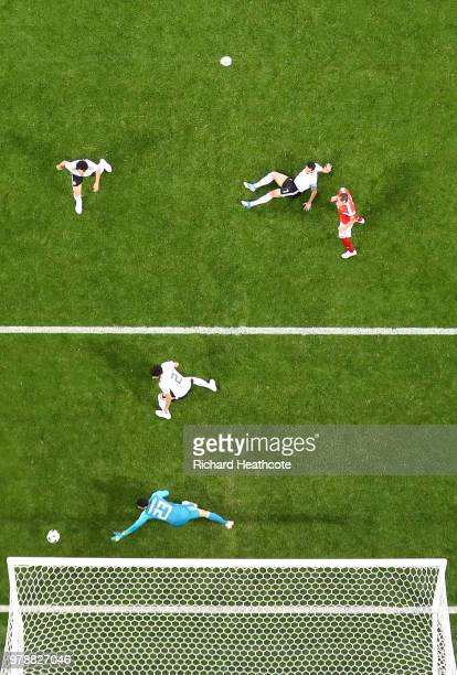 A fan of Egypt holds a banner during the 2018 FIFA World Cup Russia Group A match between Russia and Egypt at the Saint Petersburg Stadium in St...