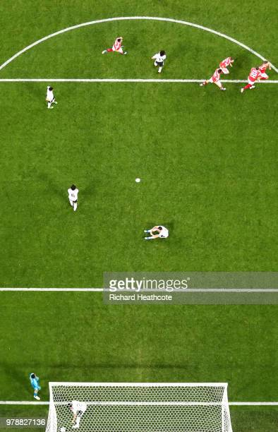 Ahmed Fathi of Egypt scores an own goal past Mohamed Elshenawy of Egypt scoring Russia's first goal during the 2018 FIFA World Cup Russia group A...