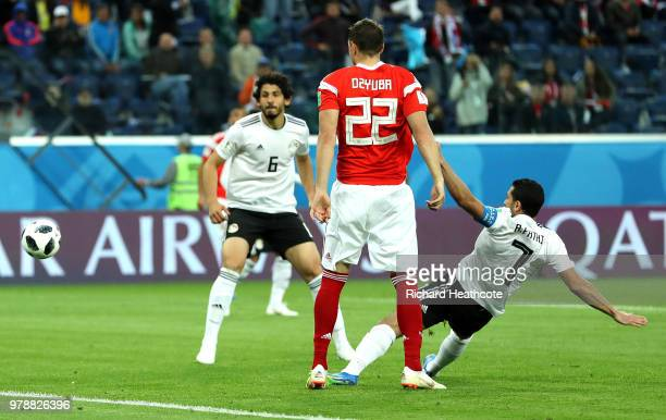 Ahmed Fathi of Egypt scores an own goal to put Russia in front 10 during the 2018 FIFA World Cup Russia group A match between Russia and Egypt at...