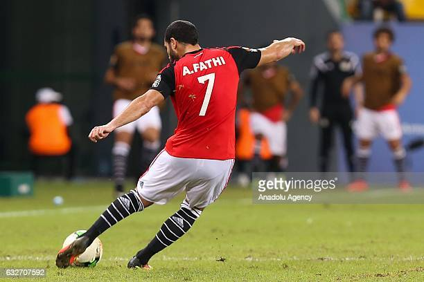 Ahmed Fathy of Egypt in action during the African Cup of Nations 2017 Group D football match between Ghana and Egypt in PortGentil Gabon on January...
