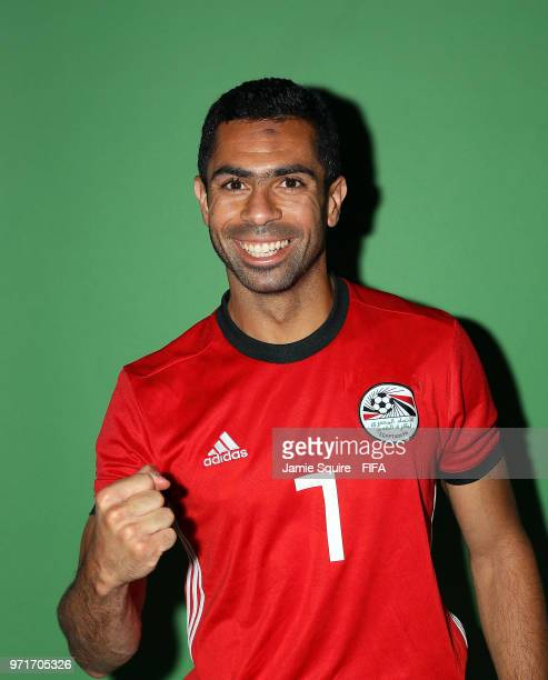 Ahmed Fathy of Egypt poses during the official FIFA World Cup 2018 portrait session at The Local hotel on June 11 2018 in Grozny Russia