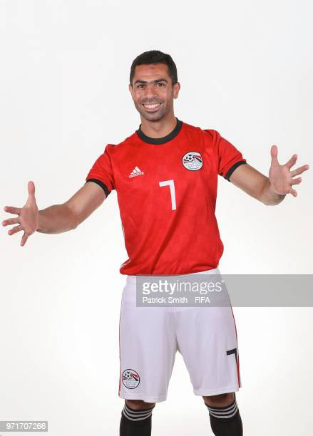 Ahmed Fathy of Egypt poses for a portrait during the official FIFA World Cup 2018 portrait session at The Local Hotel on June 11 2018 in Gronzy Russia