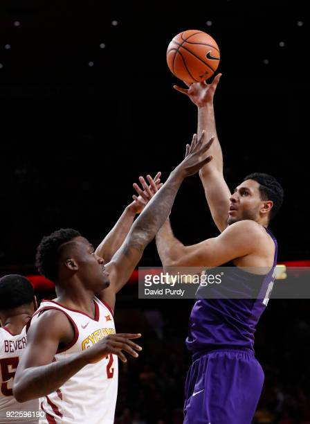 Ahmed HamdyMohamed of the TCU Horned Frogs shoots over Cameron Lard of the Iowa State Cyclones in the second half of play at Hilton Coliseum on...