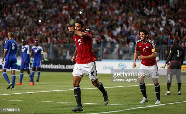 Ahmed Hassan Koka of Egypt celebrates after scoring a goal during the 2018 FIFA World Cup Round 2 Group G in the return leg match between Egypt and...