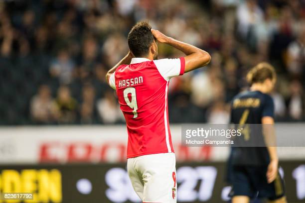 Ahmed Hassan Mahgoub of SC Braga dejected after his goal is called off for offside during a UEFA Europa League qualification match between AIK and SC...