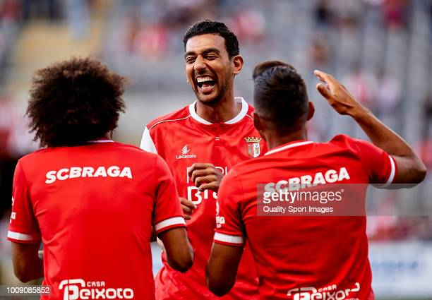 Ahmed Hassan Mahgoub of SC Braga reacts prior to the Preseason friendly match between Sporting Braga and Celta de Vigo at the Estadio AXA on July 27...