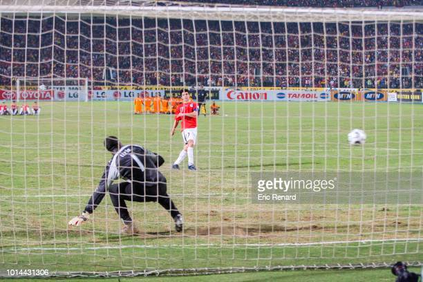 Ahmed Hassan of Egypt during penalty shootout during the 2006 Africa Cup of Nations Final match between Egypt and Ivory Coast at Cairo International...