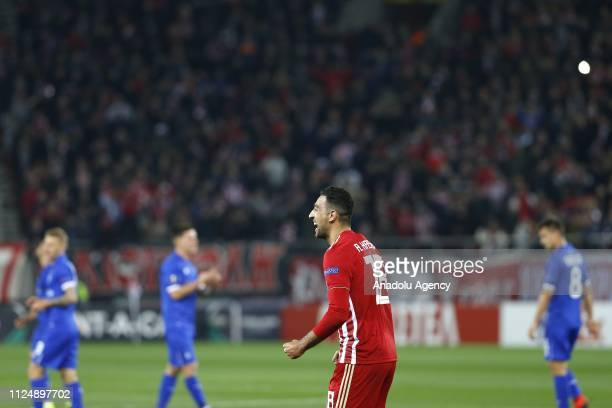 Ahmed Hassan of Olympiacos celebrates after scoring a goal during the UEFA Europa League Round of 32 match between Olympiacos and Dynamo Kyiv at...