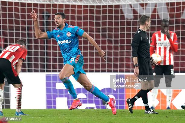 Ahmed Hassan of Olympiakos Piraeus celebrates 2-1 during the UEFA Europa League match between PSV v Olympiakos Piraeus at the Philips Stadium on...