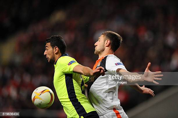 Ahmed Hassan of SC Braga challenges Ivan Ordets of Shakhtar Donetsk during the UEFA Europa League Quarter Final first leg match between SC Braga and...
