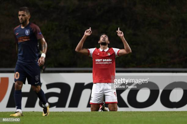 Ahmed Hassan of Sporting Braga celebrates after scoring the first goal during the UEFA Europa League group C match between Sporting Braga and...