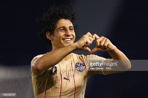 Ahmed Hegazi of Egypt celebrates his team's first goal during the FIFA U20 World Cup Group E match between Egypt and Panama at Estadio Metropolitano...