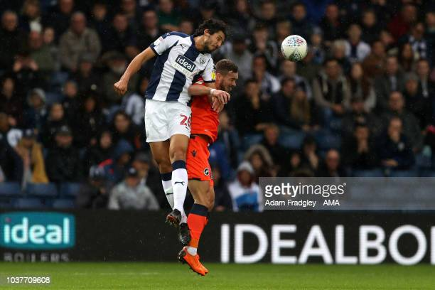 Ahmed Hegazi of West Bromwich Albion and Tom Bradshaw of Millwall during the Sky Bet Championship match between West Bromwich Albion and Millwall at...