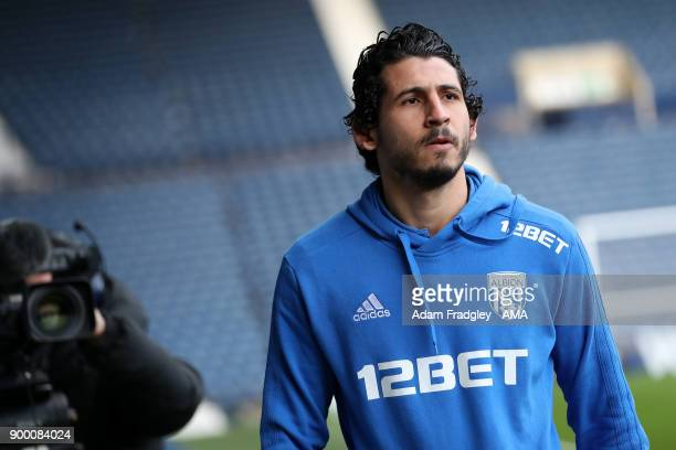 Ahmed Hegazi of West Bromwich Albion arrives for the game during the Premier League match between West Bromwich Albion and Arsenal at The Hawthorns...
