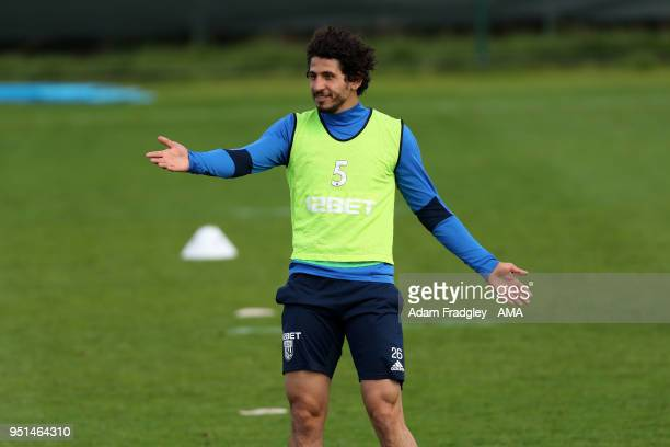 Ahmed Hegazi of West Bromwich Albion during a West Bromwich Albion Training Session on April 26 2018 in West Bromwich England