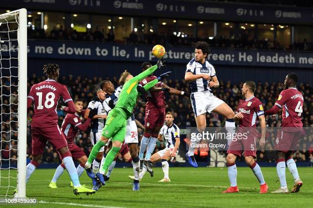 Ahmed Hegazi of West Bromwich Albion has a shot on goal during the Sky Bet Championship match between West Bromwich Albion and Aston Villa at The...