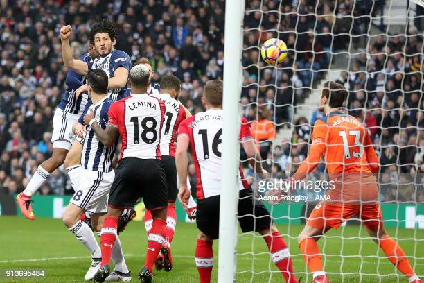 Ahmed Hegazi of West Bromwich Albion scores a goal to make it 10 during the Premier League match between West Bromwich Albion and Southampton at The...