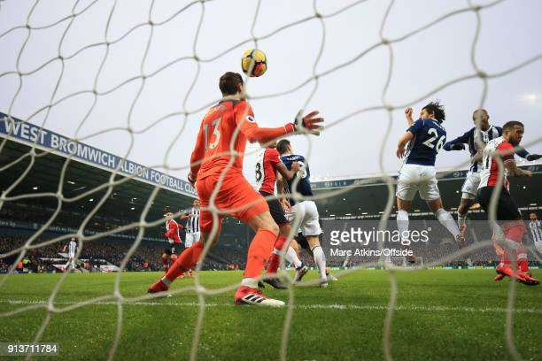 Ahmed Hegazi of West Bromwich Albion scores the opening goal during the Premier League match between West Bromwich Albion and Southampton at The...