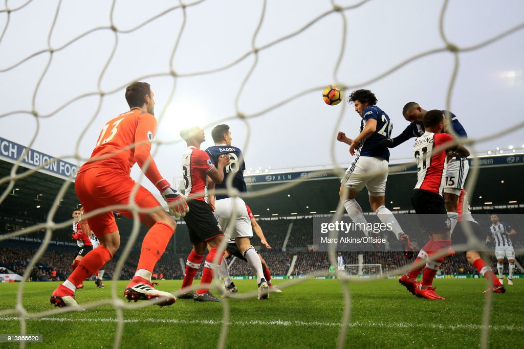 Ahmed Hegazi of West Bromwich Albion scores the opening goal of the game during the Premier League match between West Bromwich Albion and Southampton at The Hawthorns on February 3, 2018 in West Bromwich, England.