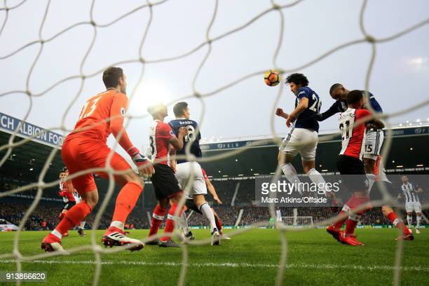 Ahmed Hegazi of West Bromwich Albion scores the opening goal of the game during the Premier League match between West Bromwich Albion and Southampton...