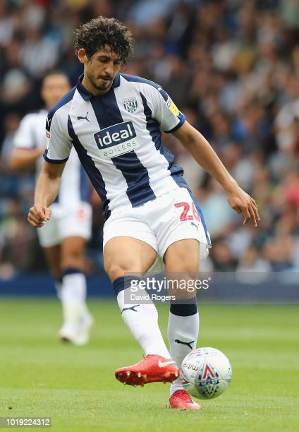 Ahmed Hegazi of West Bromwick Albion passes the ball during the Sky Bet Championship match between West Bromwich Albion and Queens Park Rangers at...